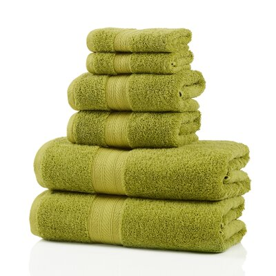 6 Piece 100% Cotton Towel Set Color: Green