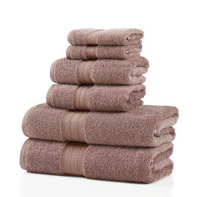 6 Piece 100% Cotton Towel Set Color: Tan