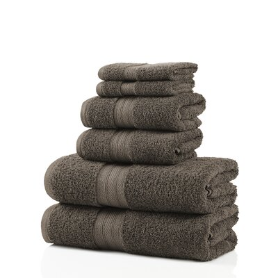 6 Piece 100% Cotton Towel Set Color: Gray