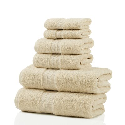 6 Piece 100% Cotton Towel Set Color: Ivory