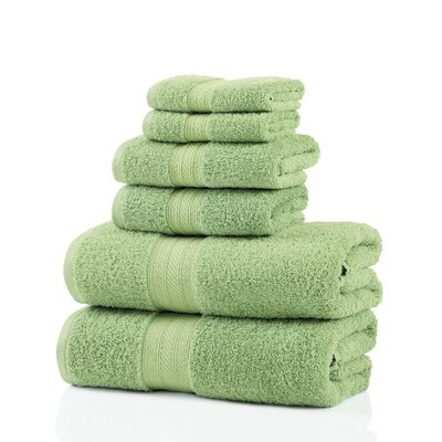 6 Piece 100% Cotton Towel Set Color: Lime