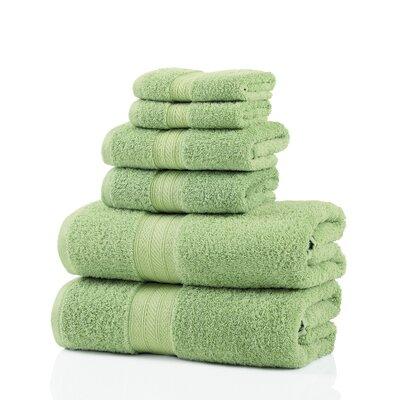 6 Piece 100% Cotton Towel Set Color: Lime