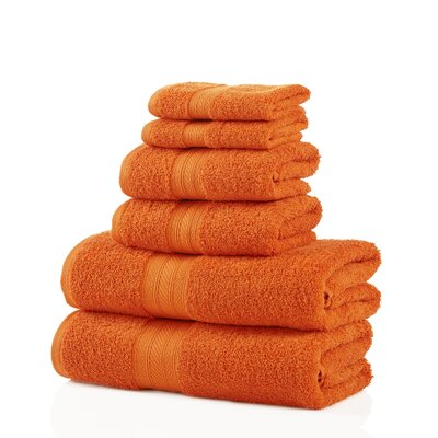 6 Piece 100% Cotton Towel Set Color: Orange