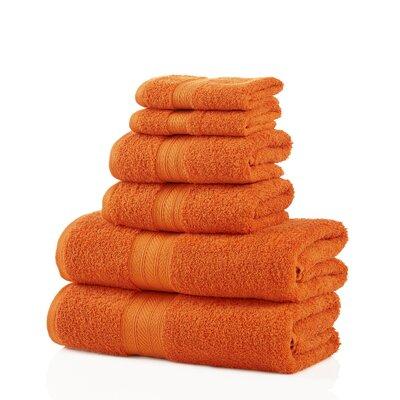 6 Piece 100% Cotton Towel Set Color: Orange