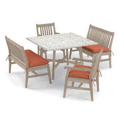 Laney 5 Piece Dining Set with Cushions Cushion Color: Dupione Papaya , Table Top Color: Ash, Color: Grigio