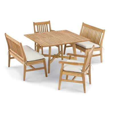 Laney 5 Piece Dining Set with Cushions Cushion Color: Canvas , Color: Natural