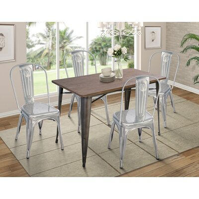 Croley 5 Piece Dining Set Chair Color: Polished Gunmental