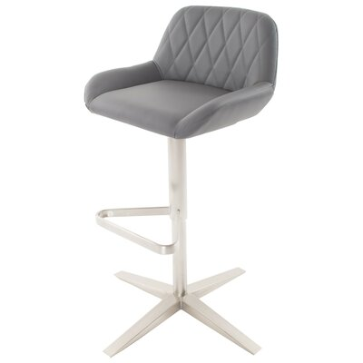 Dicarlo Adjustable Height Swivel Bar Stool Seat Color: Gray, Frame Color: Silver