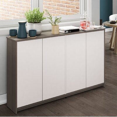 4 Door Accent Cabinet Color: Bark Gray/White