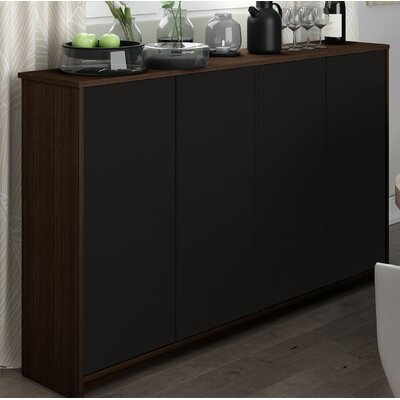 4 Door Accent Cabinet Color: Dark Chocolate/Black