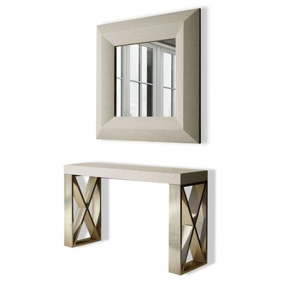 "Clemens Console Table and Mirror Set Size: 31.5"" H x 47"" W x 15.6"" D, Color: High Gloss"