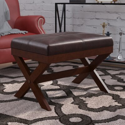 Fraser Faux Leather X Bench Upholstery Color: Brown