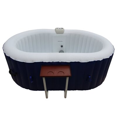 Oval Hot Tub 2-Person 130-Jet Inflatable Plug and Play Spa Finish: Dark Blue