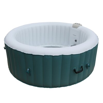 Round Hot Tub 4-Person 130-Jet Inflatable Plug and Play Spa Finish: Light Blue