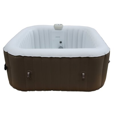 Square Portable Hot Tub 4-Person 130-Jet Inflatable Plug and Play Spa Finish: Black