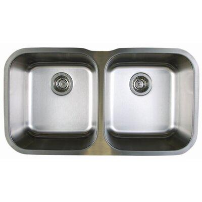 """Stellar 33.33"""" L x 18.5"""" W Equal Double Bowl Undermount Kitchen Sink"""