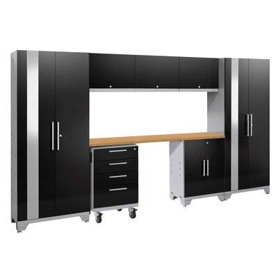 Performance 2.0 8 Piece Storage Cabinet Set Finish: Black, Worktop Material: Bamboo