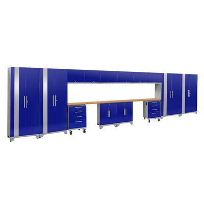 Performance 2.0 16 Piece Storage Cabinet Set Finish: Blue, Worktop Material: Bamboo