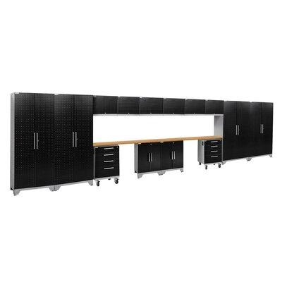 Performance 2.0 16 Piece Storage Cabinet Set Finish: Black Diamond, Worktop Material: Bamboo