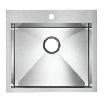 "Precision Microedge 22.5"" L x 20.5"" W Single Bowl Kitchen Sink Faucet Drillings: 1 Hole"