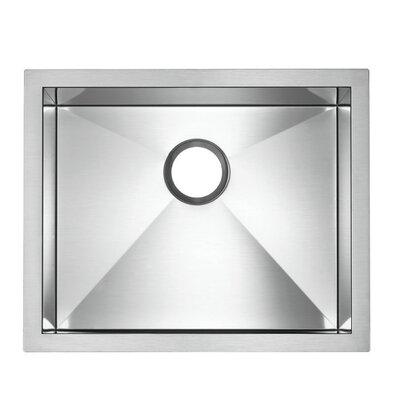 "Precision Microedge 22.5"" L x 20.5"" W Single Bowl Kitchen Sink Faucet Drillings: No Hole"