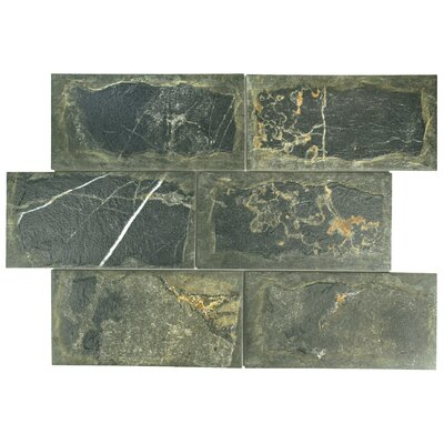 "Superiore 6"" x 12.13"" Porcelain Field Tile in Black"