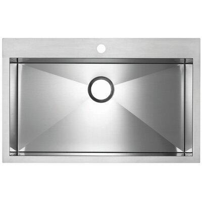 "Precision Microedge 32.5"" L x 20.5"" W Super Single Bowl Kitchen Sink Faucet Drillings: 1 Hole"