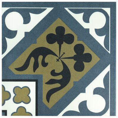 "Seni Orleans Angulo 9.75"" x 9.75"" Field Porcelain Tile in Blue"