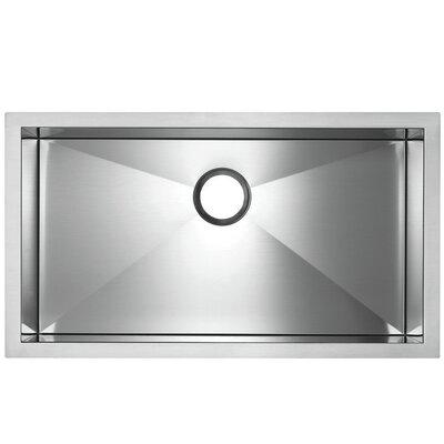 "Precision Microedge 32.5"" L x 20.5"" W Super Single Bowl Kitchen Sink Faucet Drillings: No Hole"