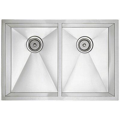 "Precision 32"" L x 18"" W R10 Medium Double Bowl Undermount Kitchen Sink"