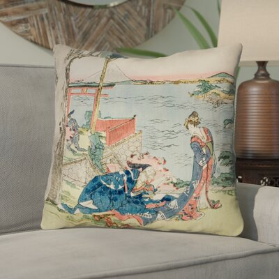 "Enya Japanese Courtesan Linen Throw Pillow Size: 18"" x 18"""
