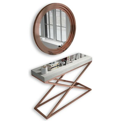 "Laivai Console Table and Mirror Set Size: 29.5"" H x 31.25"" W x 15.6"" D"