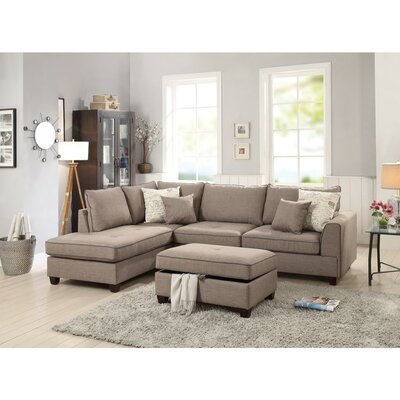 Hong Dorris Reversible Sectional with Storage Ottoman Upholstery: Light Brown