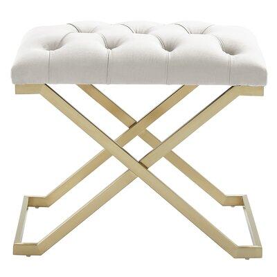 Heeter Upholstered Bench Color: Gold, Upholstery: Black