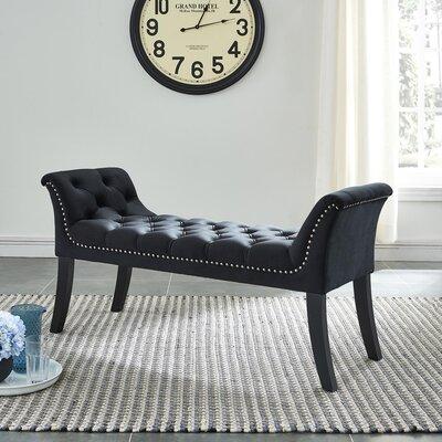 Melendy Velvet Tufted Stud Bench Color: Black
