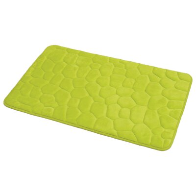 3D Cobble Stone Shaped Memory Foam Bath Rug Color: Lime Green