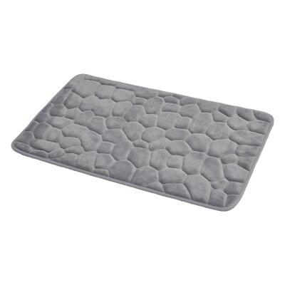 3D Cobble Stone Shaped Memory Foam Bath Rug Color: Light Gray