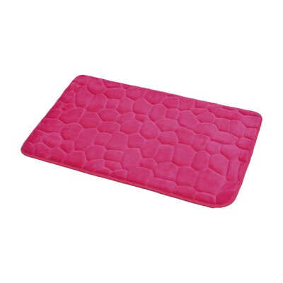3D Cobble Stone Shaped Memory Foam Bath Rug Color: Pink
