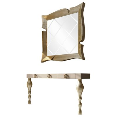 "Laivai Console Table and Mirror Set Size: 29.5"" H x 47"" W x 15.6"" D, Color: High Gloss"