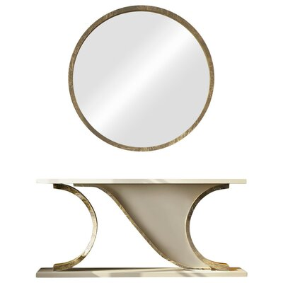 "Laivai Console Table and Mirror Set Size: 29.5"" H x 70"" W x 15.6"" D"