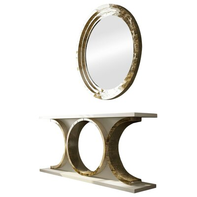 "Laivai Console Table and Mirror Set Size: 29.5"" H x 59"" W x 15.6"" D, Color: High Gloss"