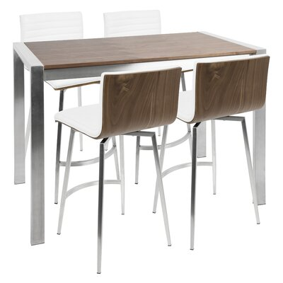 Nikolas 5 Piece Counter Height Dining Set Chair Color: White
