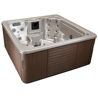 Galaxy 7-Person 92-Jet Spa with Lounger Finish: Opal/Mahogany