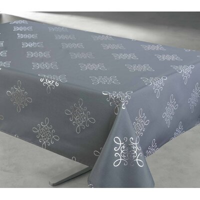 """McNeely Scroll Tablecloth Size: 60"""" W x 60"""" L, Color: Gray"""