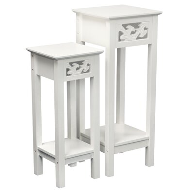 Gilmartin 2 Piece Nesting Telephone Table Set Color: White