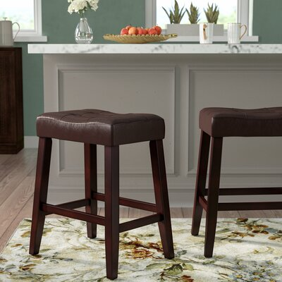 "Lyndale Saddle 24"" Bar Stool Upholstery: Espresso"