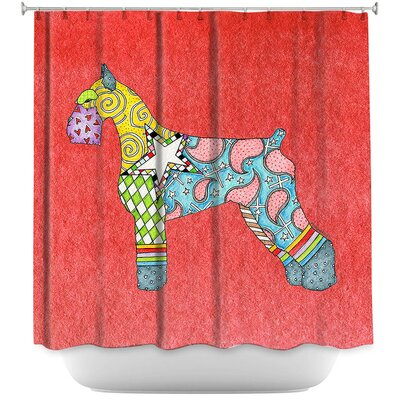 Giant Schnauzer Shower Curtain Color: Yellow/White