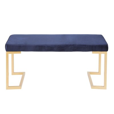 Lang Metal Bench Upholstery: Blue