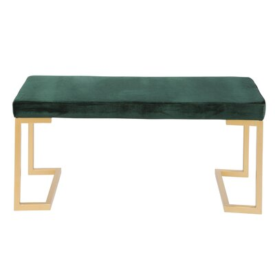 Lang Metal Bench Upholstery: Green