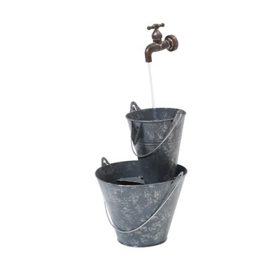 Metal Electric Bucket Fountain with Light